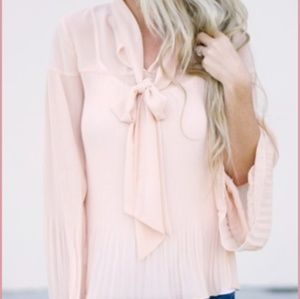 ILY Couture Blush Flowy Top with Tie.